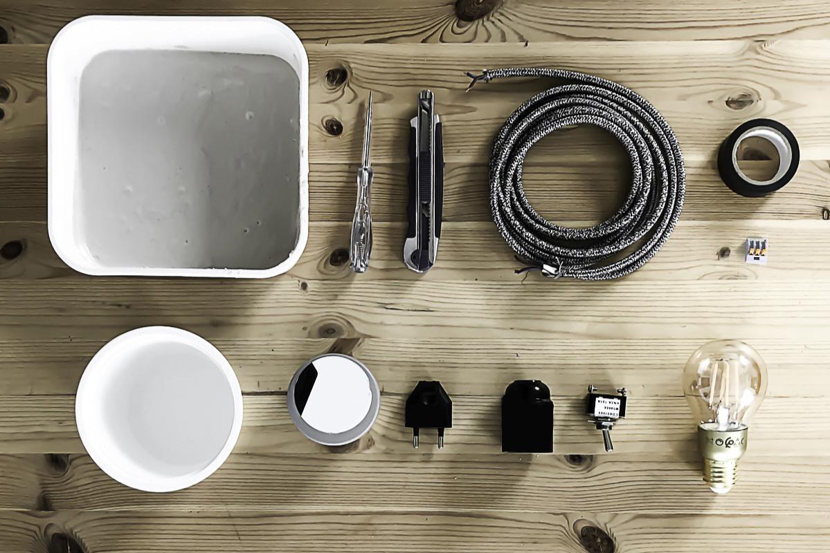 Matériel nécessaire à la réalisation du DIY lampe en béton