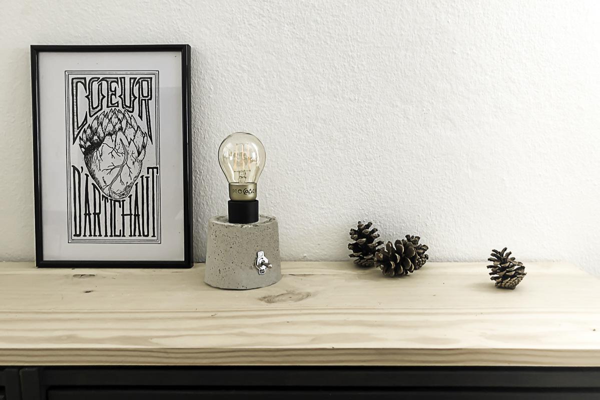 Décoration avec la lampe en béton DIY 1