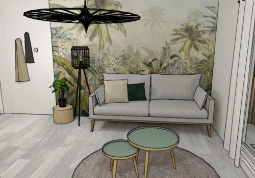 Conception de la décoration d'une location saisonnière à Saint-Denis (Réunion) dans un style tropical 5