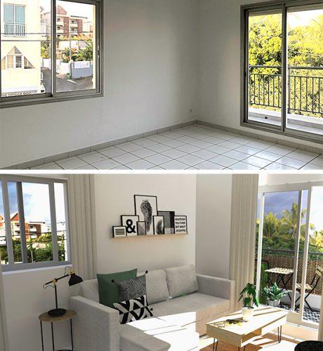 Salon avant-après en perspective 3D, exemple de valorisation immobilière à La Réunion