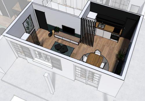 Perspective 3D Décogité : angle 3D d'un séjour à Cilaos