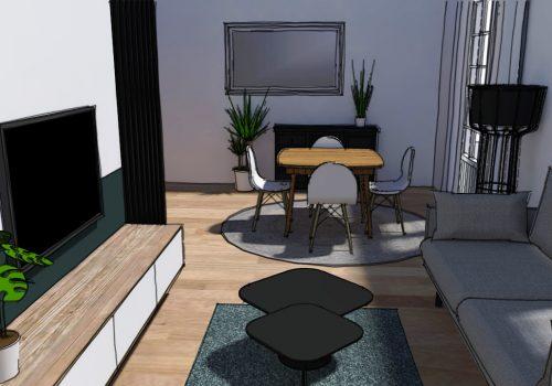 Perspective 3D Décogité : vue 3D d'un séjour à Cilaos