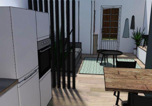 Perspective 3D Décogité : vue 3D d'un salon à Cilaos