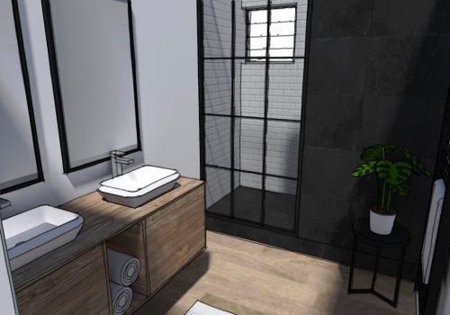 Perspective 3D Décogité : vue 3D d'une salle d'eau à Cilaos