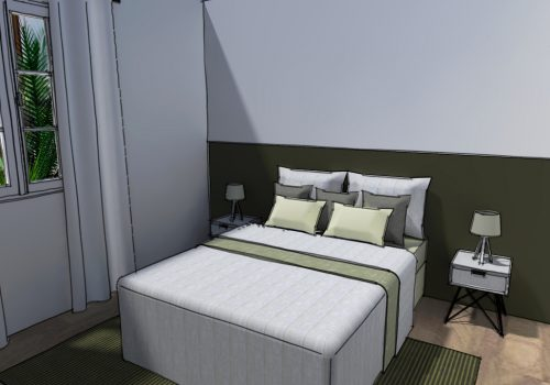 Perspective 3D Décogité : vue 3D d'une chambre à Cilaos