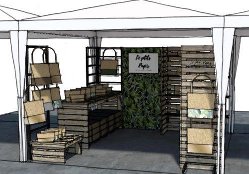 Conception et perspectives 3D d'un stand de marché nomade par Décogité (face)