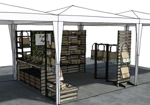 Conception et perspectives 3D d'un stand de marché nomade par Décogité (angle)