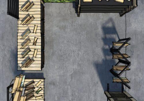Conception et perspectives 3D d'un stand de marché nomade par Décogité (plan)