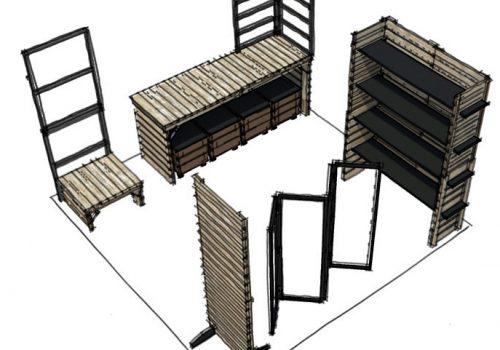 Conception et perspectives 3D d'un stand de marché nomade par Décogité (meubles)
