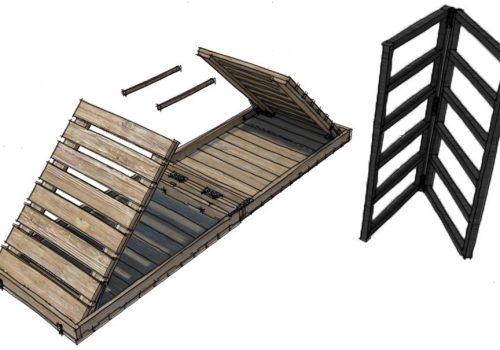 Conception et perspectives 3D d'un stand de marché nomade par Décogité (pliage)