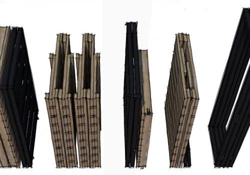 Conception et perspectives 3D d'un stand de marché nomade par Décogité (meubles pliés)